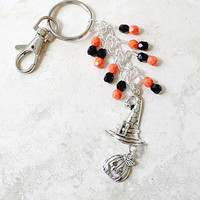 Halloween Beaded Keychain, Witch Hat Charm, Pumpkin Charm, Purse Jewelry, Halloween Accessories
