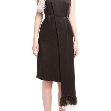 Christopher Kane Ostrich Feather Trim Side Drape Dress | Nordstrom