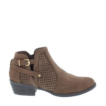 Cut Out Buckle Ankle Bootie (BROWN)