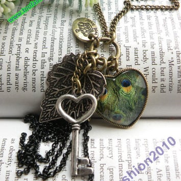 Retro copper heart shaped with peacock glass by toofashion2010