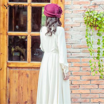YIFEI British Style Double-deck beret Women Wool Felt Fedora Hat Noble Elegant Bride Headdress Dinner Party Wedding Hats