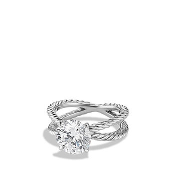 DY Crossover Engagement Ring in Platinum