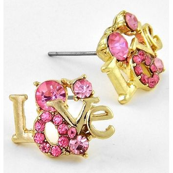 361065 Gold Tone / Rose Rhinestone / Lead Compliant / Love Button / Valentine's Day / Post Earring Set