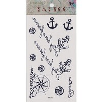 "MagicPieces Temporary Tattoo Fake Tattoo Waterproof Non-toxic Tattoo Sticker with Dark Blue Anchor, Helm and Some English Word Pattern Size 3.06""X5.13"" HM534"