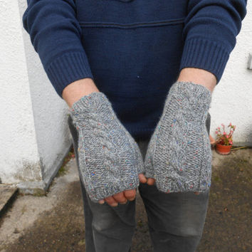 Fingerless Gloves. Men's Wool Gloves. Men's Handwarmers. Knit Gray Gloves. Men's Mittens. Gift for Him. Hand knit  Unisex Gloves