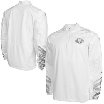 San Francisco 49ers Nike Platinum Fly Rush 2.0 Pullover Performance Jacket – White - http://www.shareasale.com/m-pr.cfm?merchantID=7124&userID=1042934&productID=551828972 / San Francisco 49ers