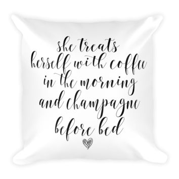 """18"""" Coffee + Champs Pillow"""