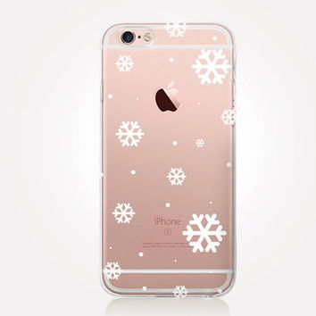 Transparent Snowflakes Phone Case - Transparent Case - Clear Case - Transparent iPhone 6 - Gel Case - Soft TPU Case - Samsung S7