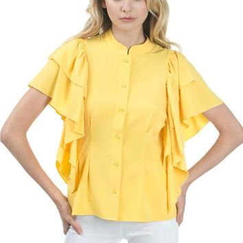 2 Layer Ruffle Sleeve Blouse Top