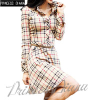 2016 Fashion Autumn Woman Dresses Long Sleeve Vintage Casual Plaid Shirt Dress
