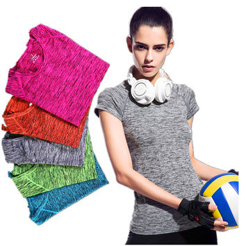 5 Colors S-L Women Solid T Shirt Short Sleeves Plus Size Workout T-Shirt FREE SHIPPING!