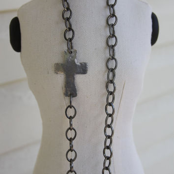Long Sideways Cross Necklace, urban chic, pewter, hammered silver cross, religious, spiritual
