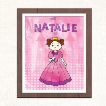 Princess Art Print for Girls Room Decor Personalized Pink Wall Art for Girls baby room decor nursery room