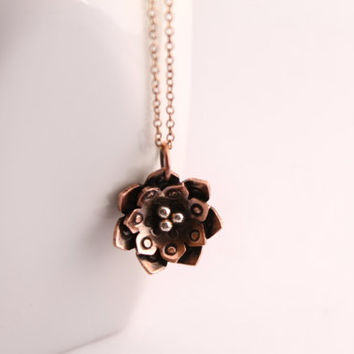 Flower pendant copper handmade boho necklace copper chain antique rustic style