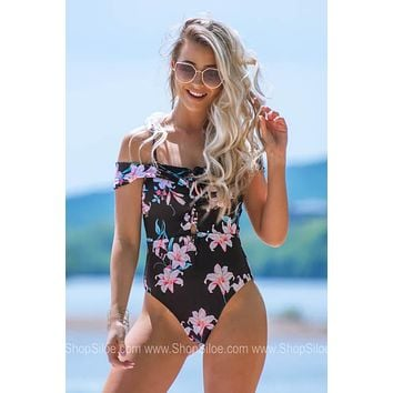 Criss Cross Tie Floral Swimsuit