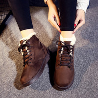 Casual Winter Women Flat Lace-Up Warm Snow Ankle Boots