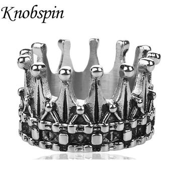 2018 New Arrival Titanium Steel Men's Ring Retro King Crown Finger Ring for Men Fashion Punk Never Fade Jewelry US Size 9-13