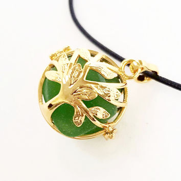 Tree Of Life Necklace GENUINE Sea Glass Jewelry In Gold Locket
