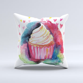 The Love, Cupcakes and Watercolor ink-Fuzed Decorative Throw Pillow