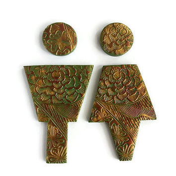 Bronze Male Female Bathroom Sign, Washroom Sign, Floral Restroom Door Decor