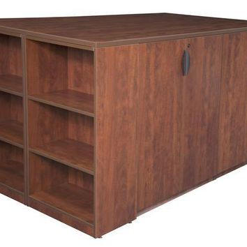 Legacy Stand Up Storage Cabinet Quad with Bookcase End- Cherry
