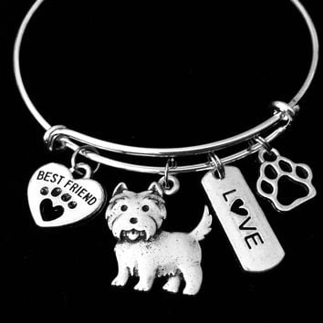 Westie Dog Expandable Charm Bracelet Silver Adjustable Wire Bangle Gift Best Friend Paw Print Pet Animal Lover West Highland Terrier Carin Terrier