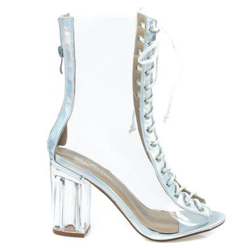Clear45 Silver By Forever Link, Above Ankle Clear Peep Toe Lace Up Boots & Perspex Plexiglas Block Heel