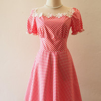 Happily Ever After - Baby Doll Dolly Sleeve Dress Red Gingham Dress Red Summer Dress Swing Skirt Tea Party Style Vintage Sundress