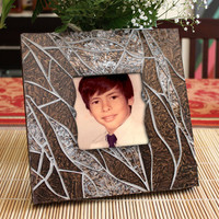 Brown and Silver Stained Glass Mosaic Picture Frame, Brown Glass Mosaic Mirror