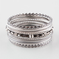 Full Tilt 12 Piece Bead/Twist Bangle Set Metal One Size For Women 24825519101