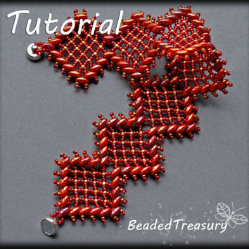 Rich Garnet Lace - beadweaving bracelet tutorial / Bracelet pattern / Beaded lace / Superduo pattern / Seed bead pattern / TUTORIAL ONLY
