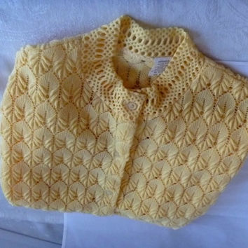 Yellow Open Weave Pointelle Womens Cardigan Sweater | Spring Lightweight | Long Sleeved