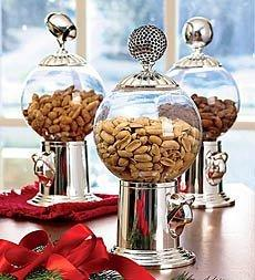 Set of 3 Decorative Snack Dispenser Finials in Silverplate in Woodland