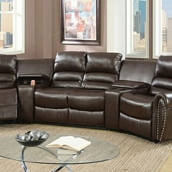 5 pc Collette collection brown bonded leather upholstered theater sectional sofa with recliners