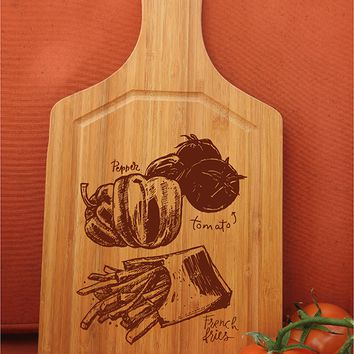 ikb458 Personalized Cutting Board Wood vegetables pepper tomato fast food restaurant kitchen