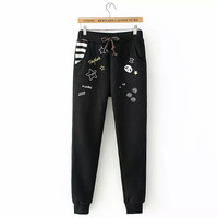 Embroidered Drawstring Sweat Pants