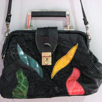 80s DOCTOR faux LEATHER bag small purse - black texture vegan colorful leaf leaves - green red blue yellow patch - artsy boho s sm fall