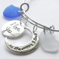 I love you to the moon and back sea glass charm bracelet, blue sea glass and white sea glass, sea glass charm bracelet