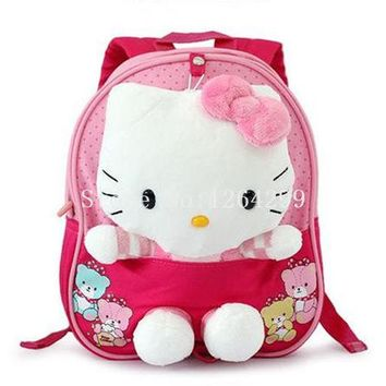 School Backpack New Fashion Hello Kitty Girls Toddler Harness Walking Safety Anti-lost Plush Backpack School Bags For Children AT_48_3
