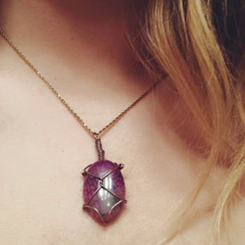 Purple Dragon Vein Agate Cabochon Wire-wrapped Necklace