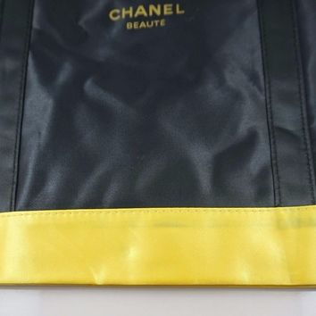 CHANEL Beauty Black Gold Satin Shoulder Bag, Travel Shopping Tote Bag