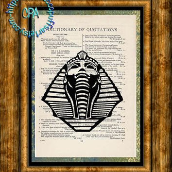 Black Egyptian Sphinx Art - Beautifully Upcycled Vintage Dictionary Page Book Art Print