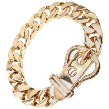 ONETOW Hermes Large Buckle Gold Curb Link Chain Bracelet