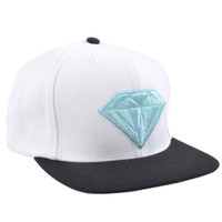 Diamond Supply Co Mens Emblem Logo Snapback Hat White