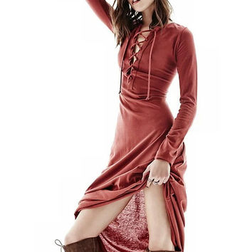V-neck Three-quarter Sleeve Dress High Waist Skirt One Piece Dress [6295608004]