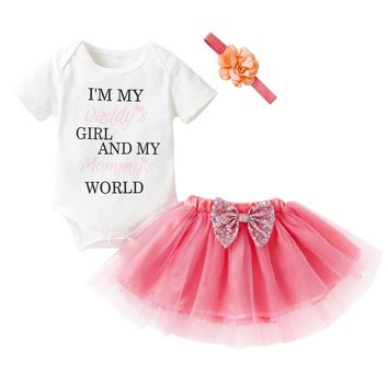 3PCS Newborn Infant Baby Girl Clothes Set Summer Letter Print Rompers Tops+Tutu Skirt Outfits Clothing