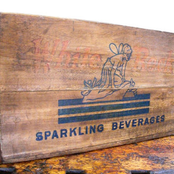 Vintage Wood Crate, White Rock Sparkling Beverages, Brooklyn, New York, 1950s