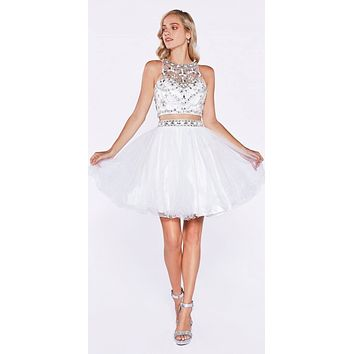 Cinderella Divine 975 Two Piece Illusion Beaded Crop Top Off White Tulle Homecoming Dress