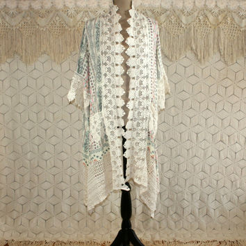 Romantic Pastel Print Duster Long Cardigan Kimono Robe 20s Style Edwardian Lace Embellished Art Deco Tribal Medium Large Womens Clothing