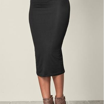 Black Gathered Waist Long Skirt | VENUS